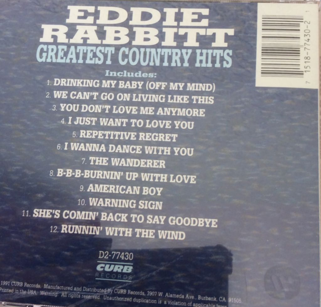 Greatest Country Hits (WMA) Music - Rabbitt, Eddie (CD) back image (back cover, second image)