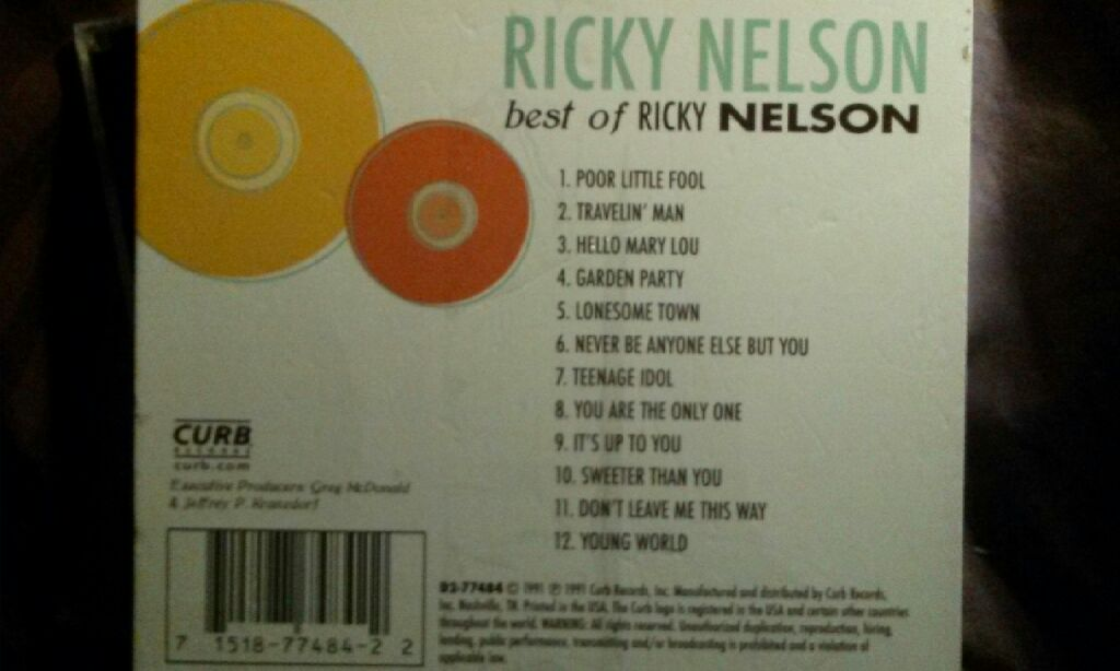 Best of Ricky Nelson (MP3) Music - Nelson, Ricky (CD) back image (back cover, second image)