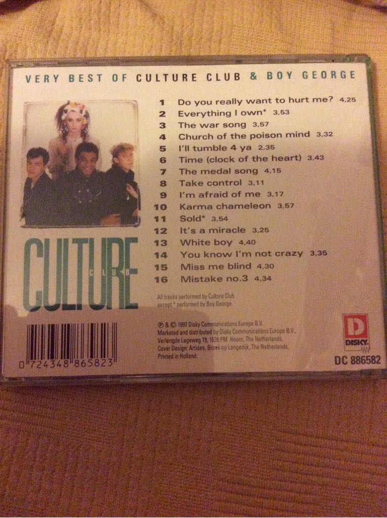 Best Of Boy George & Culture Club Music - Culture Club (CD) back image (back cover, second image)