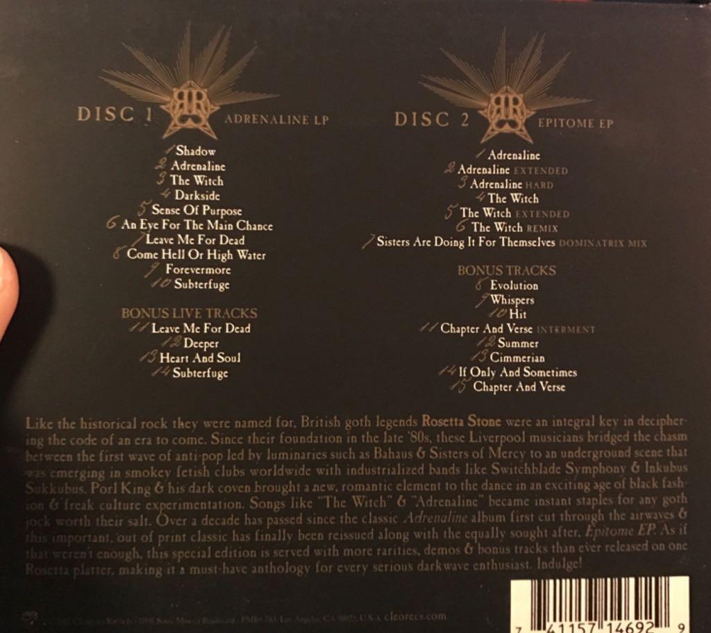 Adrenaline Deluxe Music - Rosetta Stone (CD) back image (back cover, second image)