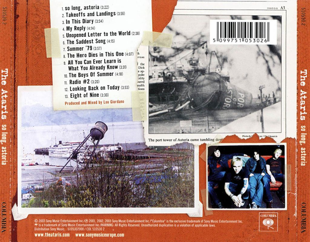 So Long, Astoria Music - The Ataris (CD) back image (back cover, second image)