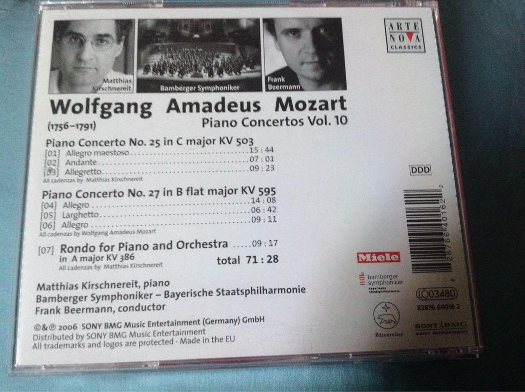 Wolfgang Amadeus Mozart : Piano Concertos Vol. 10 Music - Bamberger Symphoniker (CD) back image (back cover, second image)