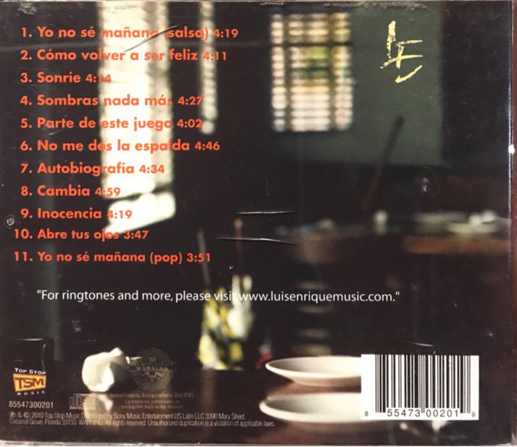 Ciclos Music - Luis Enrique (CD) back image (back cover, second image)