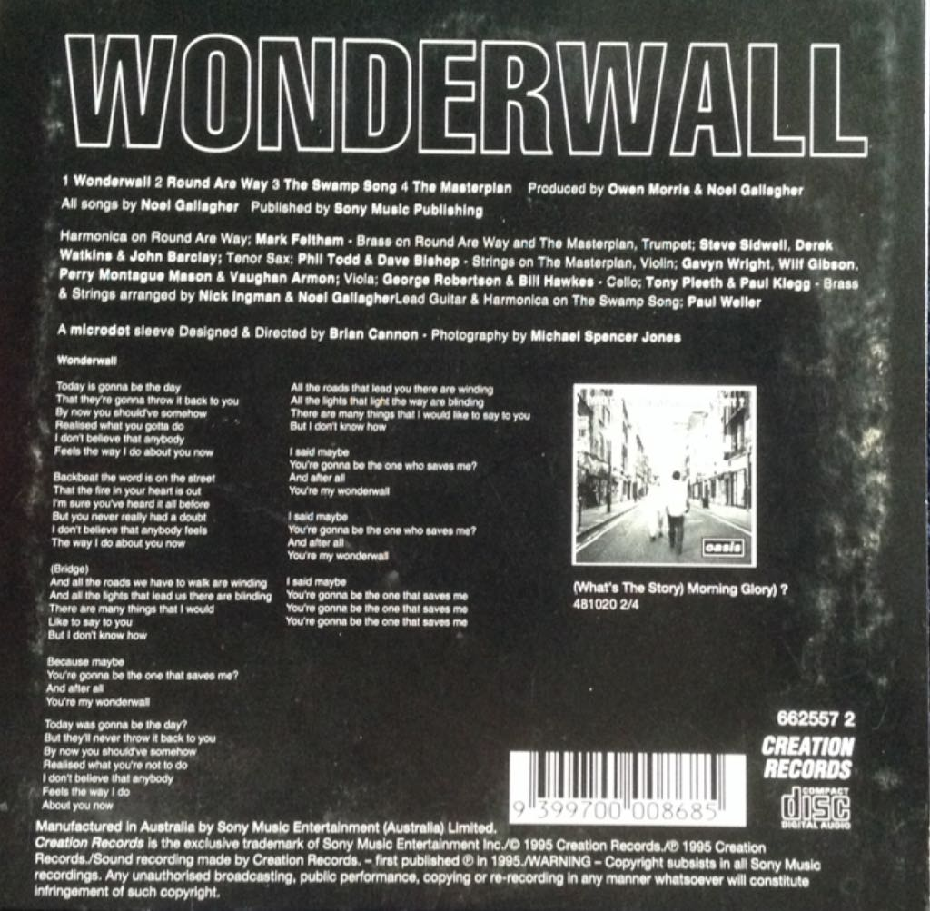 Wonderwall Music - Oasis (CD) back image (back cover, second image)