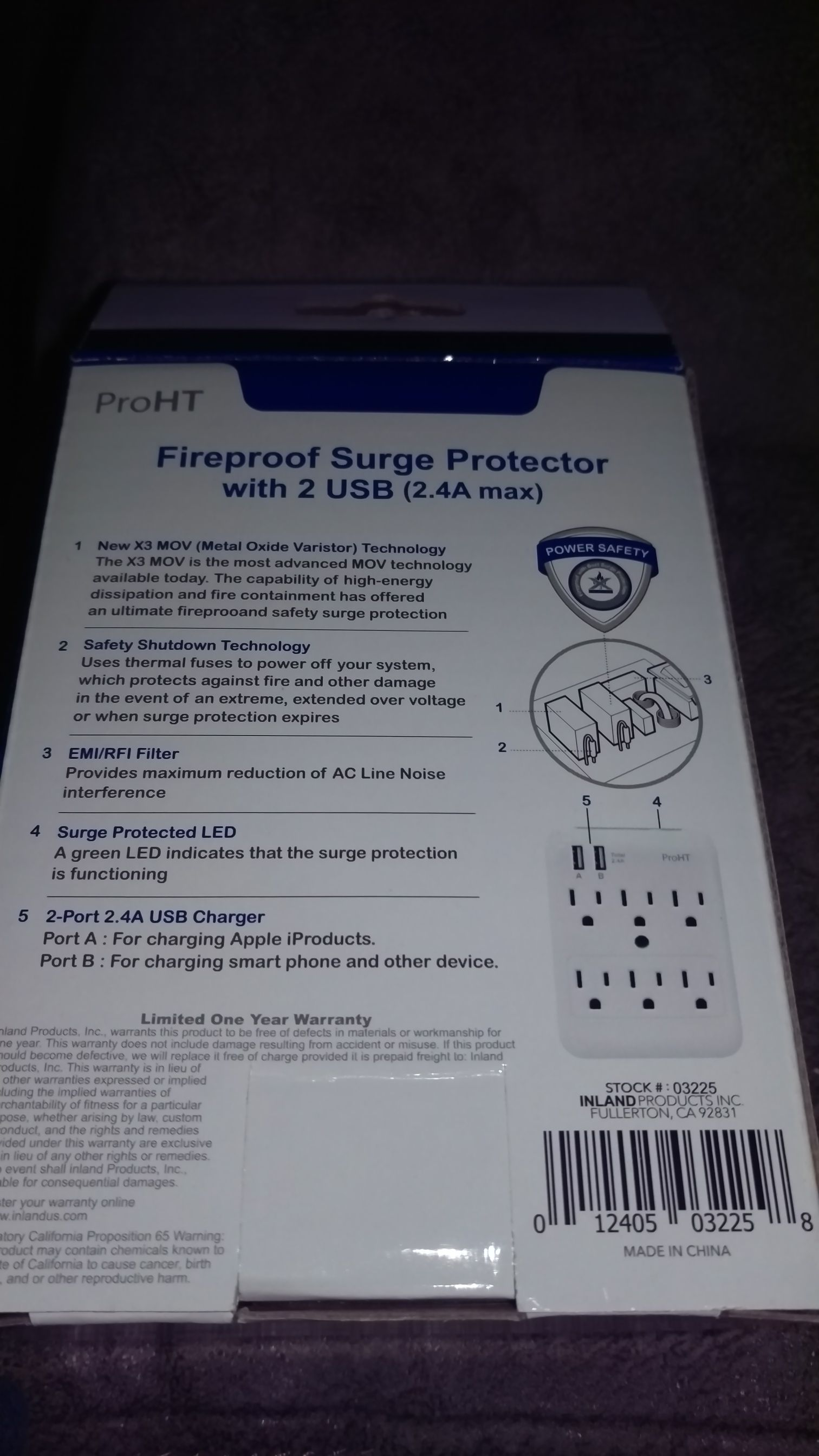 Fireproof Surge Protector with 2 USB Ornament - ProHT (2018) back image (back cover, second image)