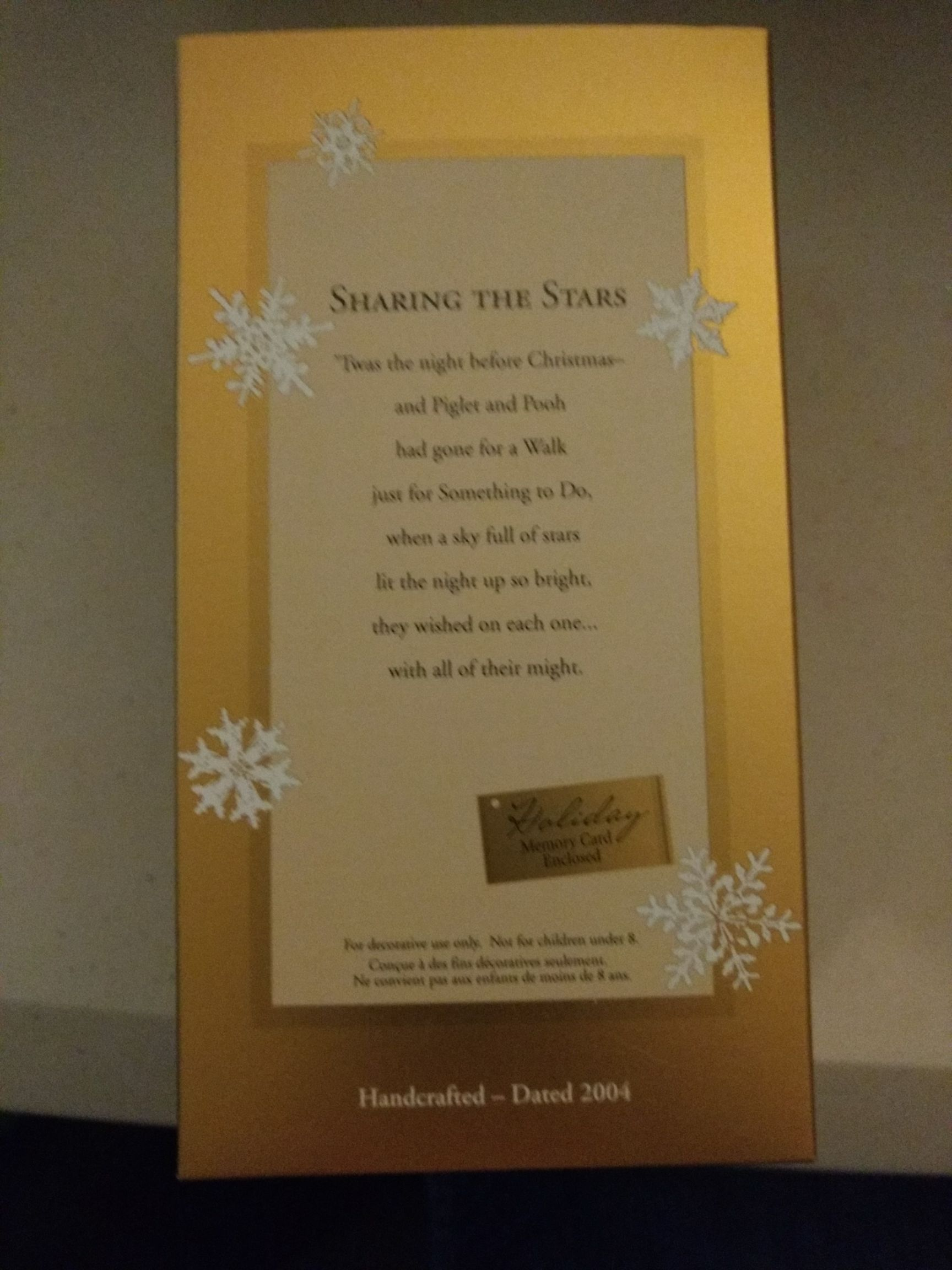 Sharing the Stars Ornament (2004) back image (back cover, second image)