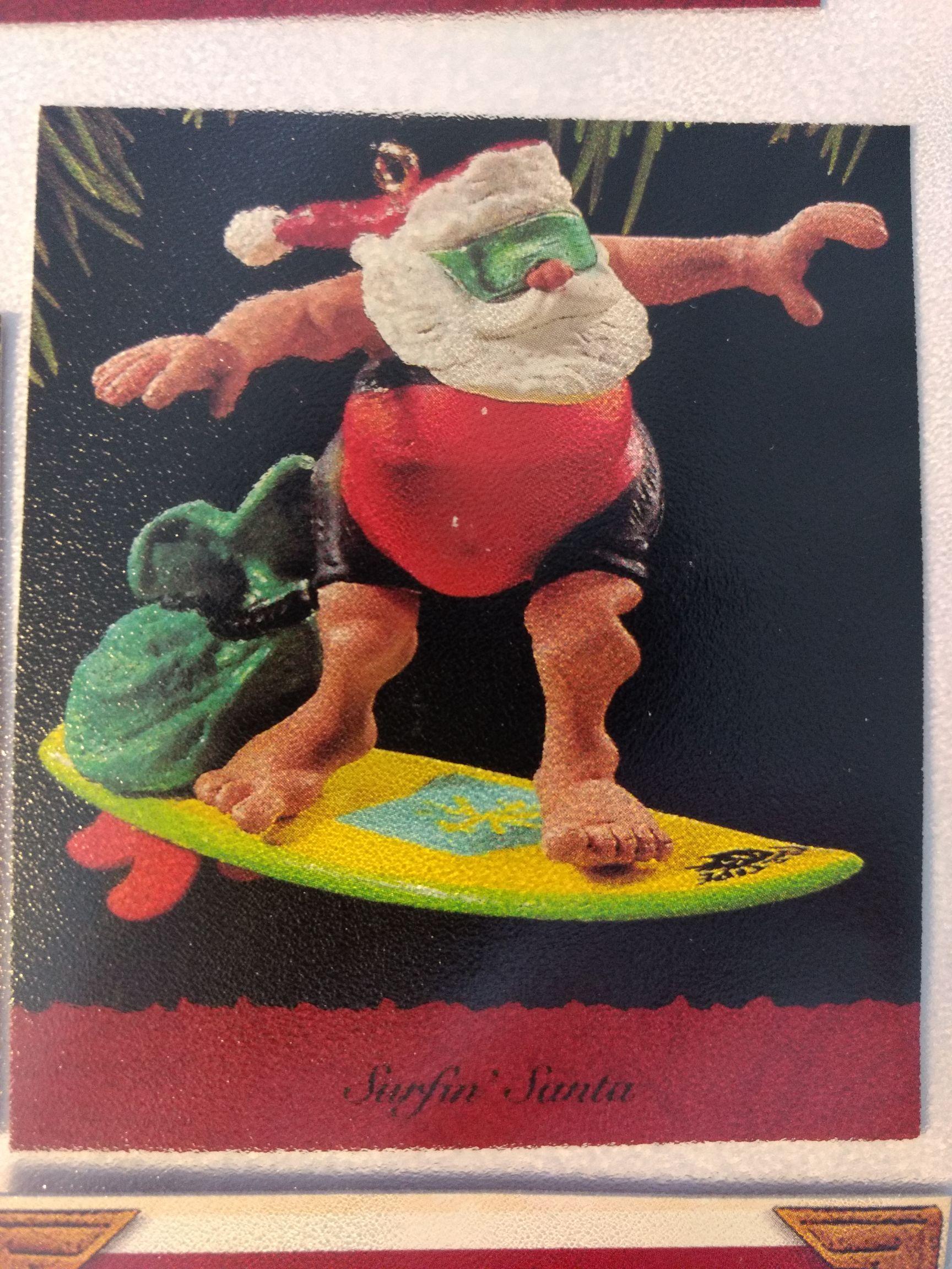 Santa - Surfin' Santa Ornament - Hallmark front image (front cover)