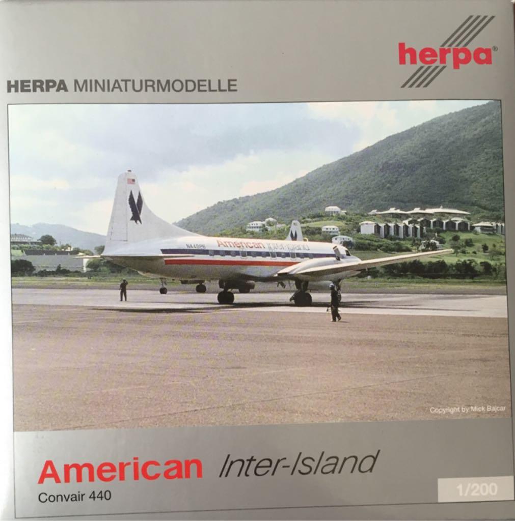 convair 440 american inter island cv-440 1  200 herpa 552486 cv 440 airline plane