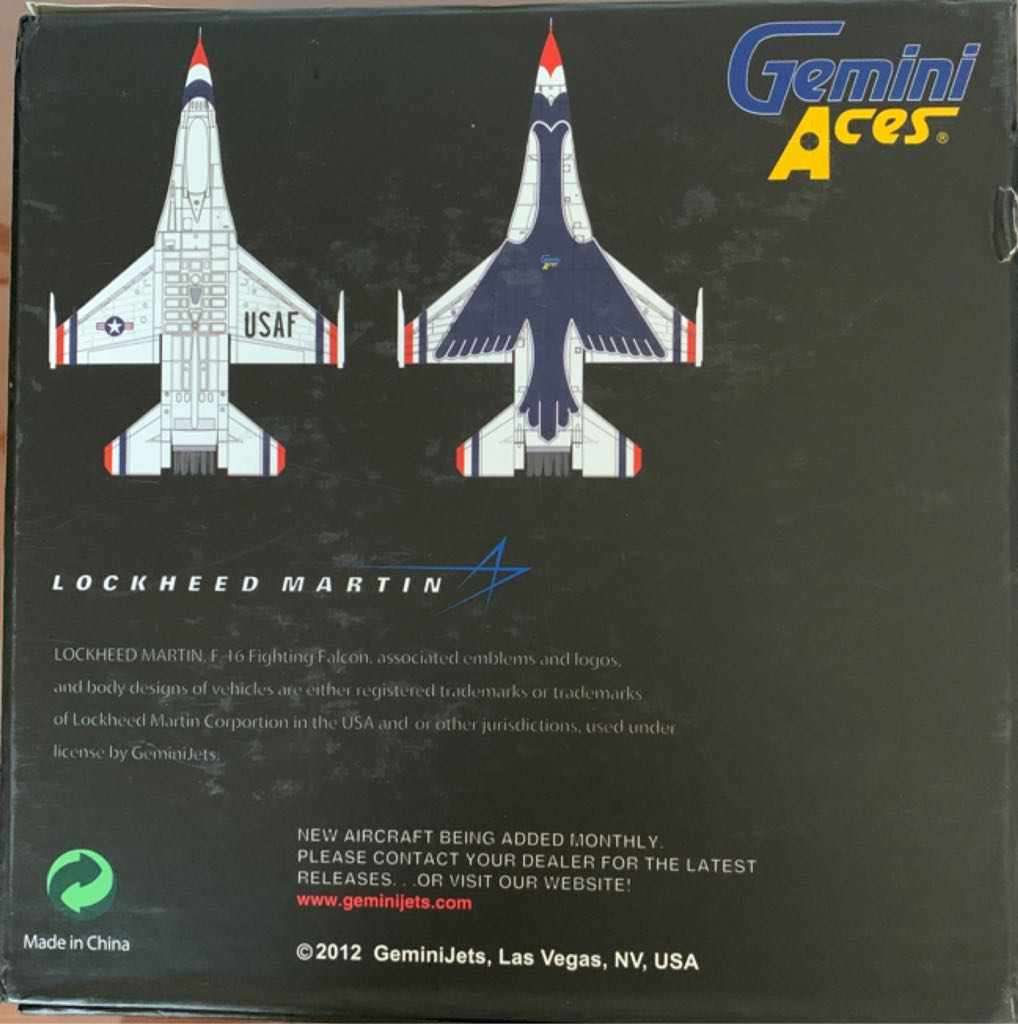 F-16 Fighting Falcon Thunderbirds Plane - LOCKHEED MARTIN back image (back cover, second image)