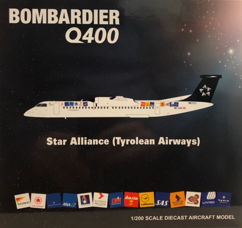 Tyrolean Airways Q400 OE-LGC Plane - Bombardier (Dash 8-Q400) front image (front cover)
