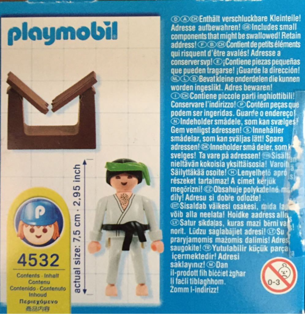 4532 Karate Special Pal Playmobil back image (back cover, second image)