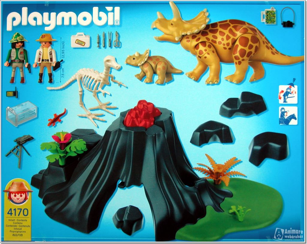 Triceratops con volc n playmobil dinosaurios 4170 for Playmobil dinosaurios