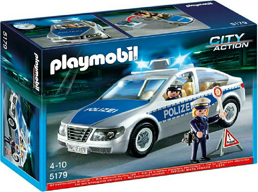 polizeiauto mit blinklicht playmobil  polizei 5179