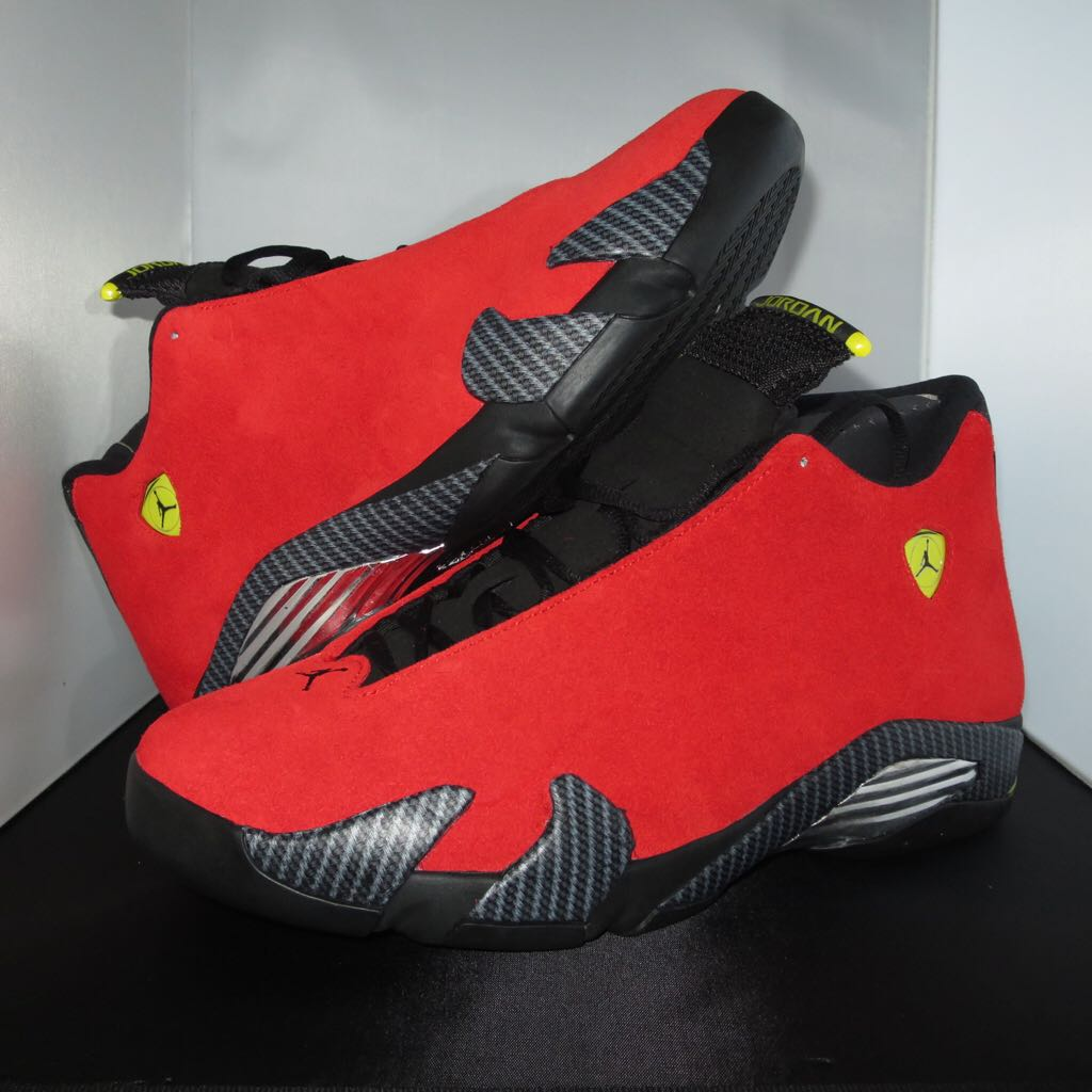 89671b842863 ... canada air jordan 14 retro ferrari shoe jordan chilling red black  vibrant yellow 19a51 9f375 ...