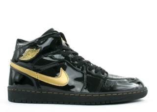 Air Jordan 1 Retro Shoe - Air Jordan (Black/gold) front image (front cover)