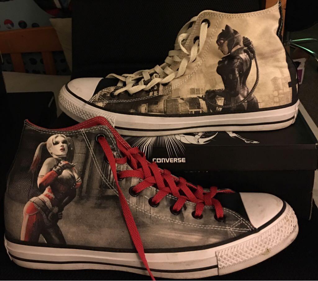 9610b7c0ecd0 Catwoman Harley Quinn Converse High Tops Shoe - Converse (Red Peach) front