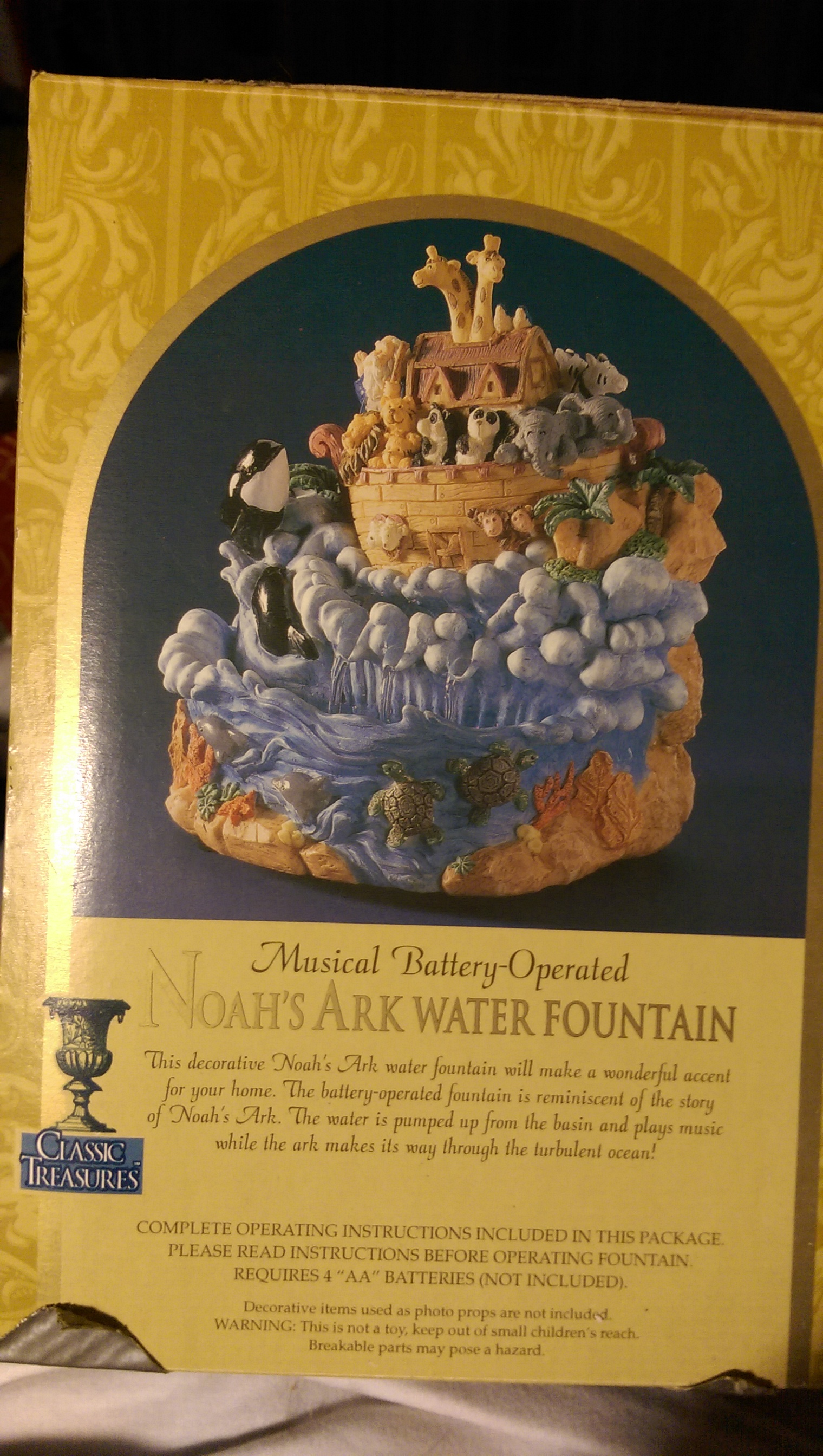 Noah's Ark Water Fountain Snowglobe back image (back cover, second image)