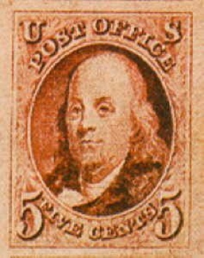 1847 5c Franklin Stamp - USA (U.S. Postage) front image (front cover)