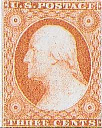 1851 3c Stamp Stamp - USA (U.S. Postage) back image (back cover, second image)