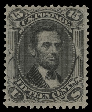 1867 15c Lincoln Stamp - USA (U.S. Postage) front image (front cover)
