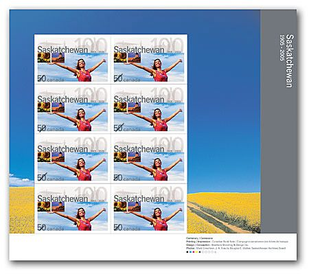 Saskatchewan 1905-2005 Stamp (Souvenir Sheet) front image (front cover)