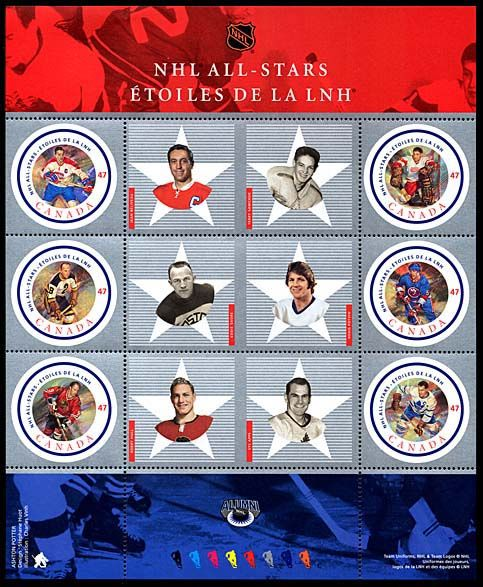 NHL All-stars Stamp (Permament Domestic Pane) front image (front cover)