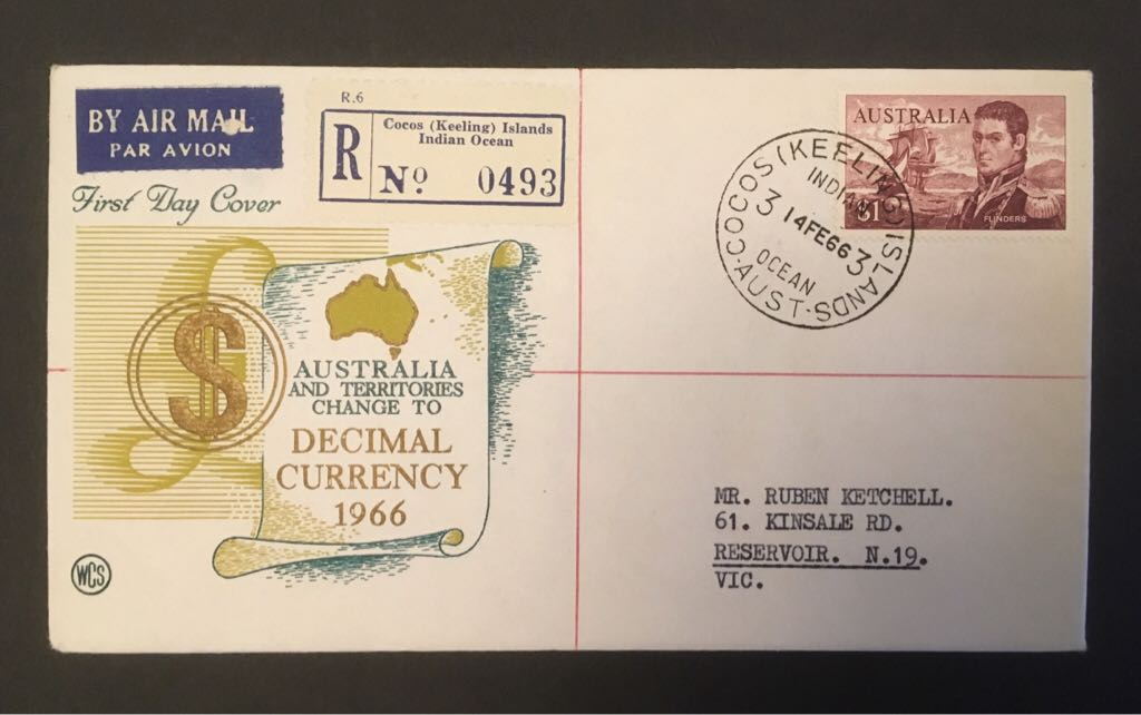 Australia 1966 FDC WCS Decimal Currency $1 Flinders Stamp - Australia (Official First Day Cover) front image (front cover)