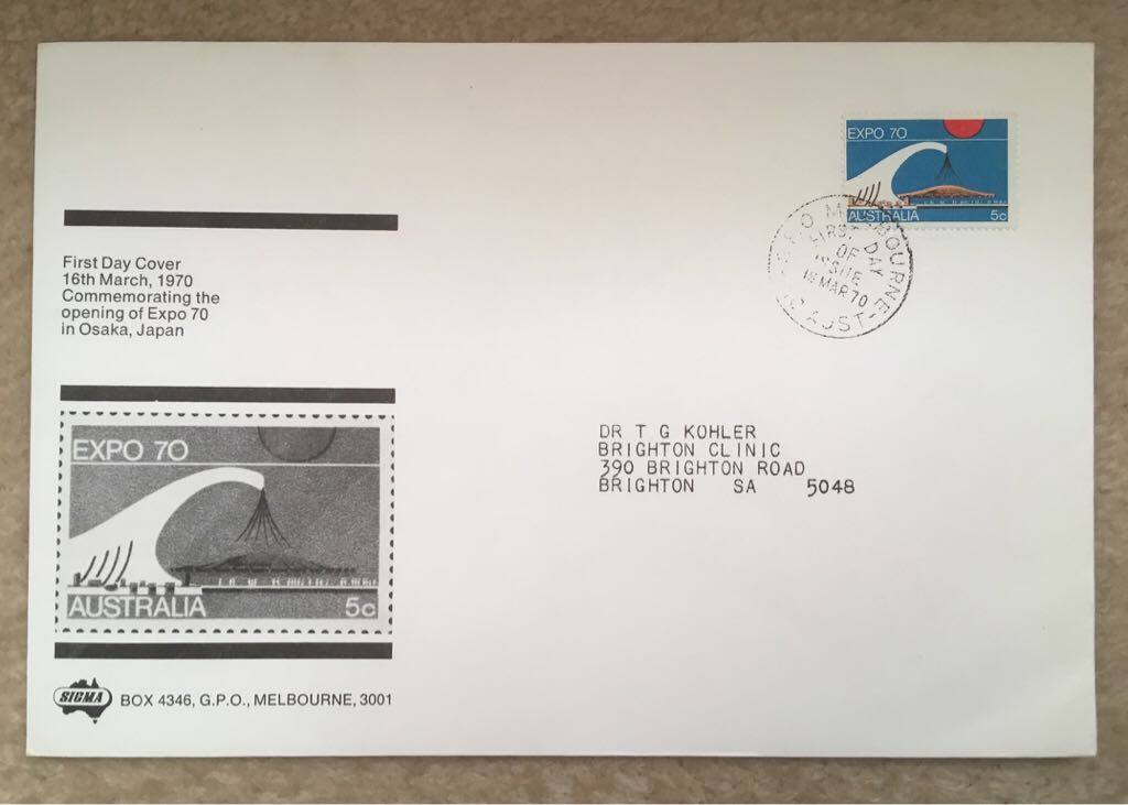 Australia 1970 FDC Expo 1970 Japan 5c SIGMA Stamp - Australia (Official First Day Cover) front image (front cover)