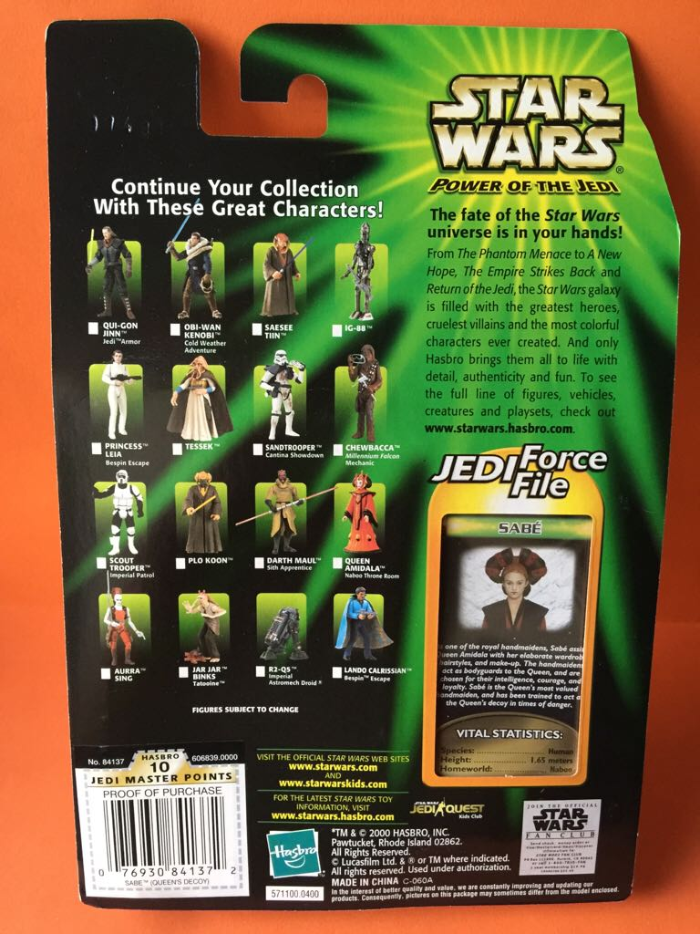 Sabe Star Wars - Hasbro (2000) back image (back cover, second image)