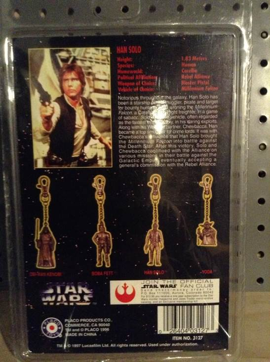 Han Solo Metal Keychain Star Wars - Placo (1996) back image (back cover, second image)