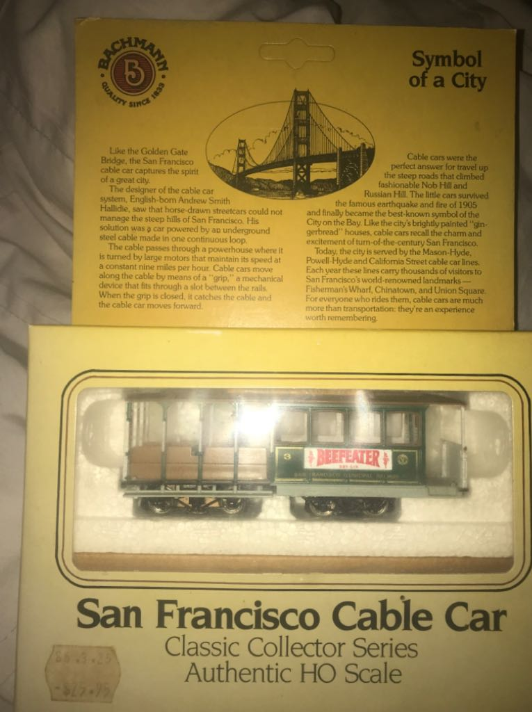 Bachmann - San Francisco Cable car. HO Scale Train - Bachmann back image (back cover, second image)