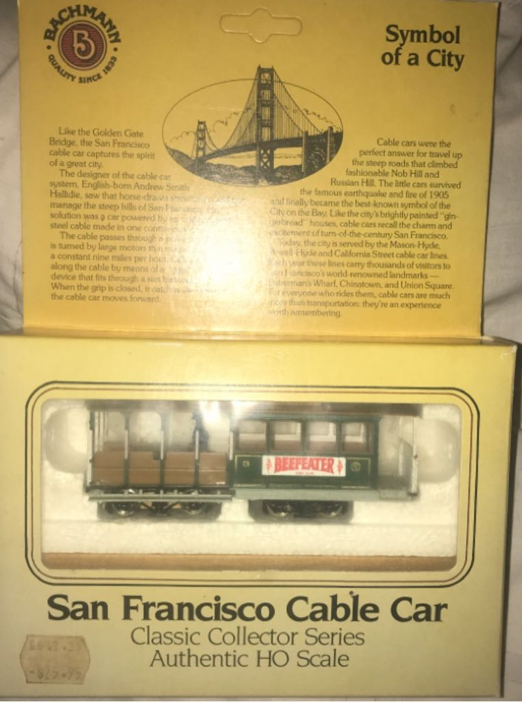 Bachmann - San Francisco Cable car. HO Scale Train - Bachmann front image (front cover)