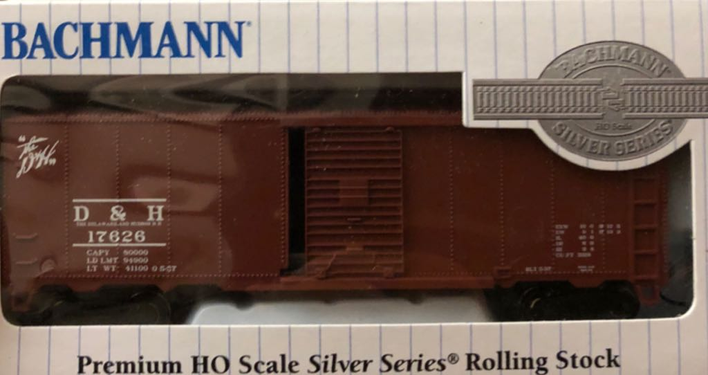 Boxcar, Steel, D&H, 17626 Train - Bachmann Silver Series (40' Steel Boxcar) front image (front cover)