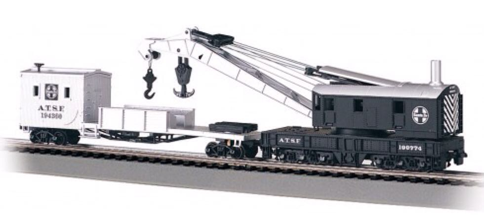 ATSF Crane Train - Bachmann Silver Series (250 Ton Crane Car And Boom Tender) front image (front cover)