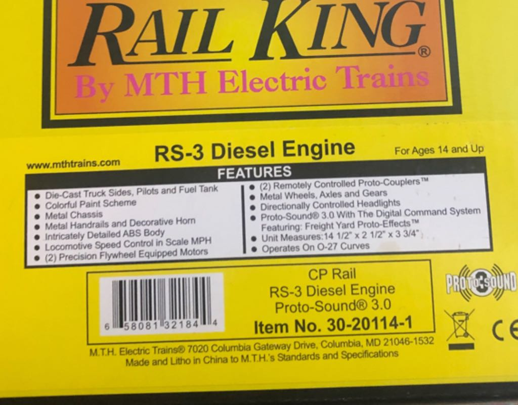 Diesel MTH 30-20114-1 Train - MTH (ALCO RS-3) back image (back cover, second image)