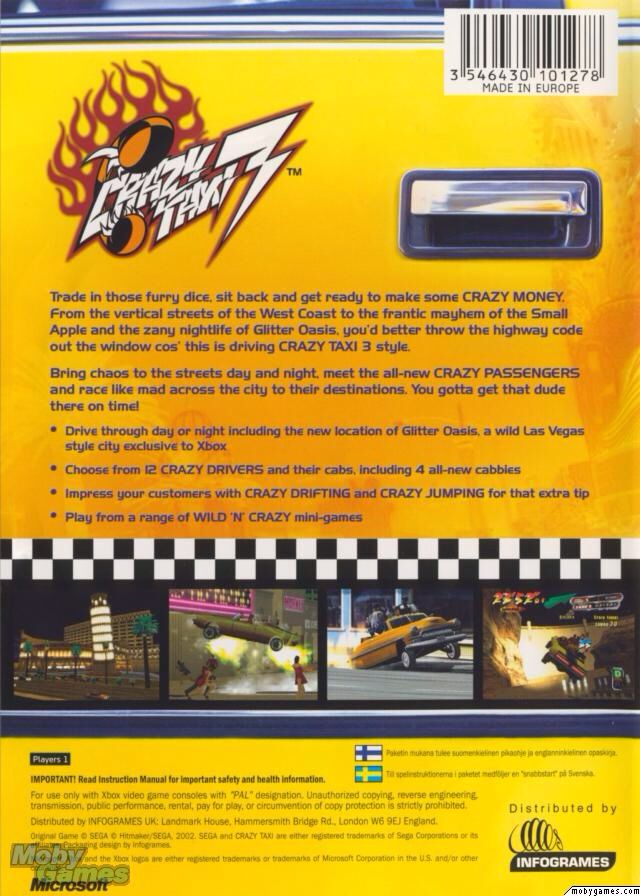 Crazy Taxi 3: High Roller Video Game - Xbox (USA) back image (back cover, second image)