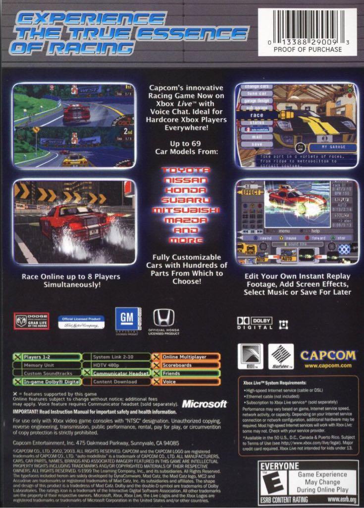 Auto Modellista Video Game - Xbox (USA) back image (back cover, second image)