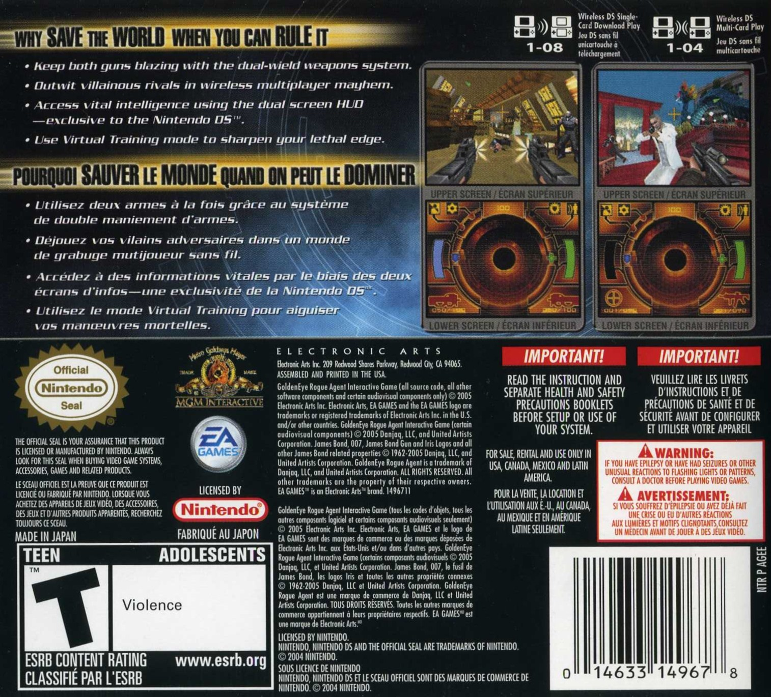 GoldenEye: Rogue Agent Video Game - DS (USA) back image (back cover, second image)
