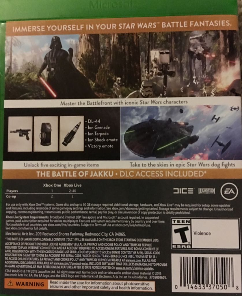 Star Wars Game For Xbox 1 : Star wars battlefront video game xbox one usa from