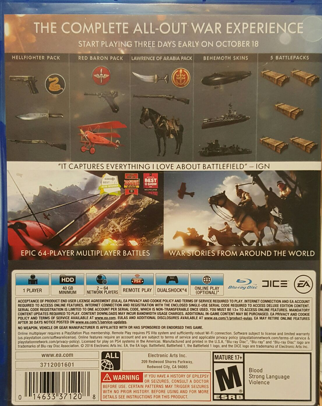 Battlefield 1 Early Enlister Deluxe Edition Video Game Ps4 Usa Back Image