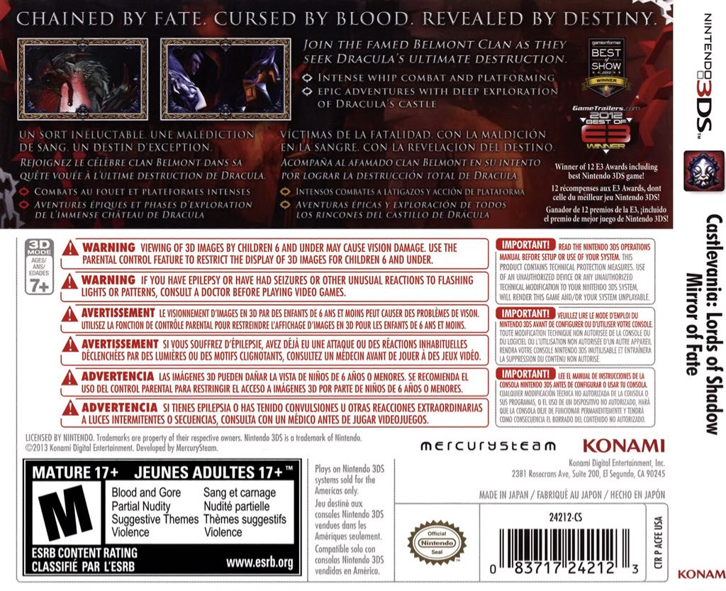 Castlevania Lord of Shadow Mirror of Fate Video Game - 3DS (France