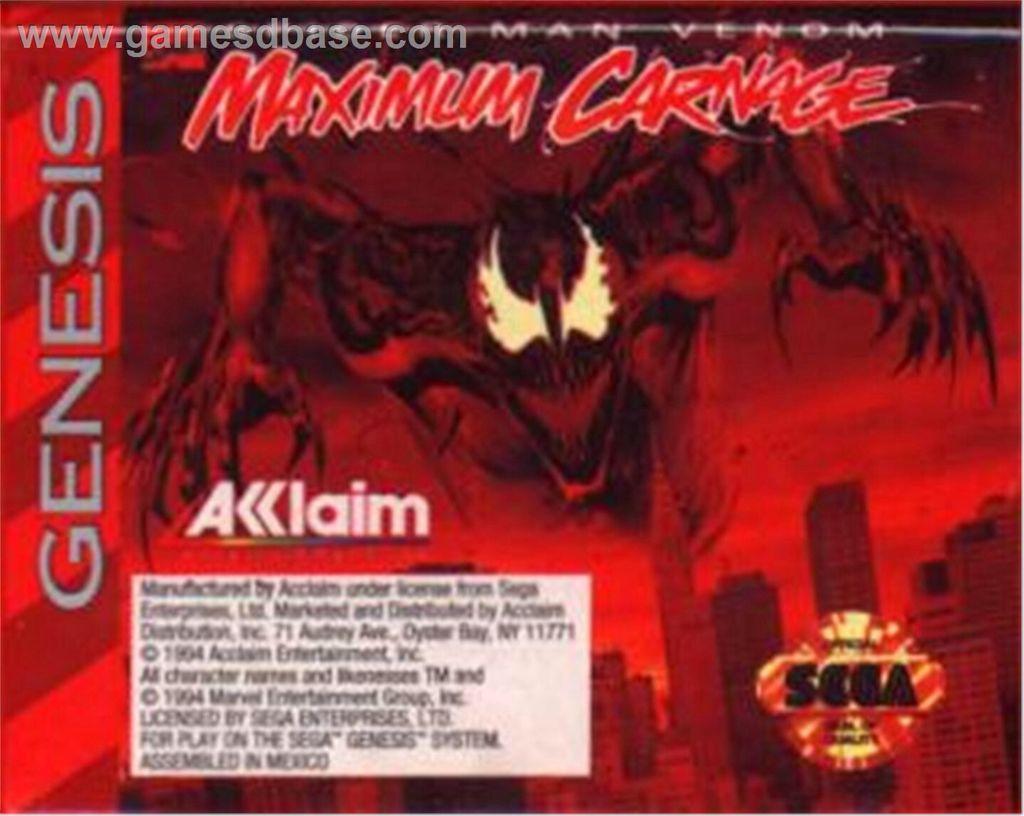 Spider Man Venom Maximum Carnage Video Game Sega Genesis Usa