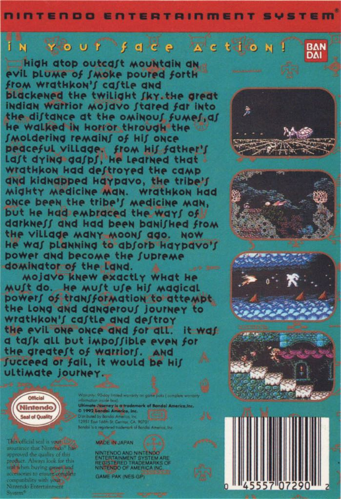 Ultimate Journey Video Game - NES (USA) back image (back cover, second image)