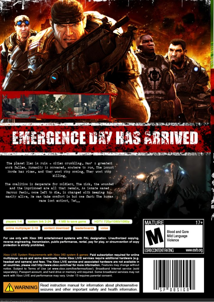 Gears Of War Video Game - Xbox 360 (Poland) back image (back cover, second image)