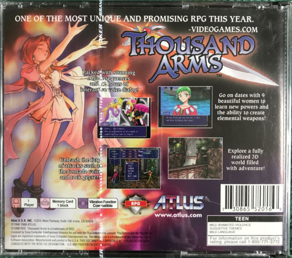 Thousand Arms Video Game - Playstation (USA) - from Sort It Apps