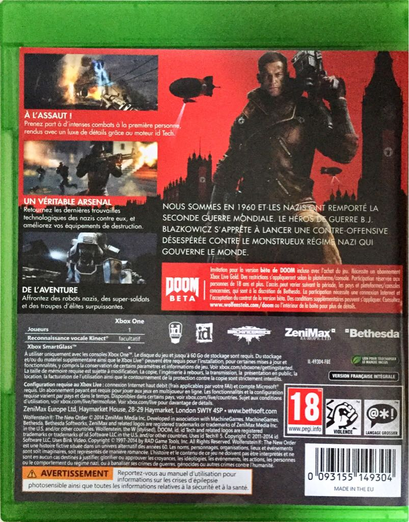 Book Cover Pictures Xbox One ~ Wolfenstein the new order video game xbox one from