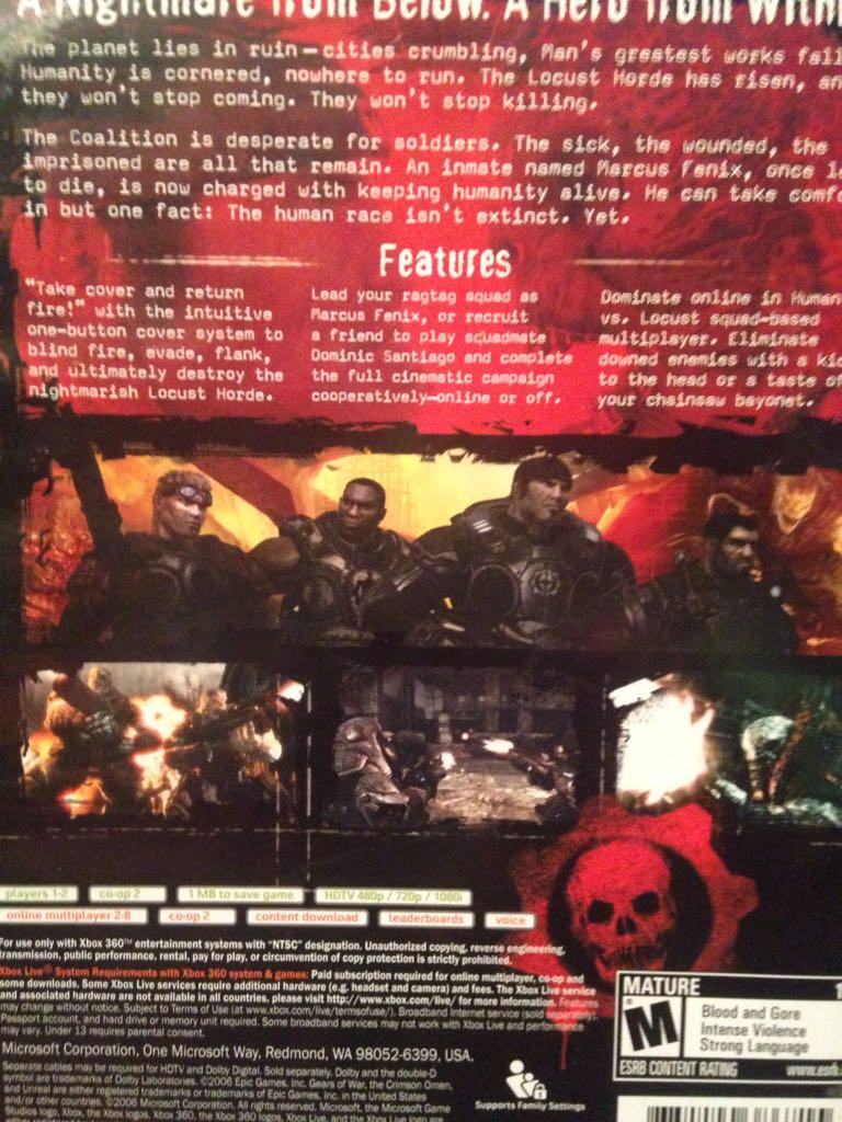 Gears Of War Video Game - Xbox 360 back image (back cover, second image)