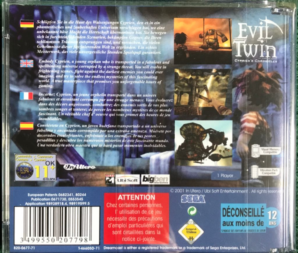 Evil Twin: Cyprien's Chronicles Video Game - Sega Dreamcast (PAL