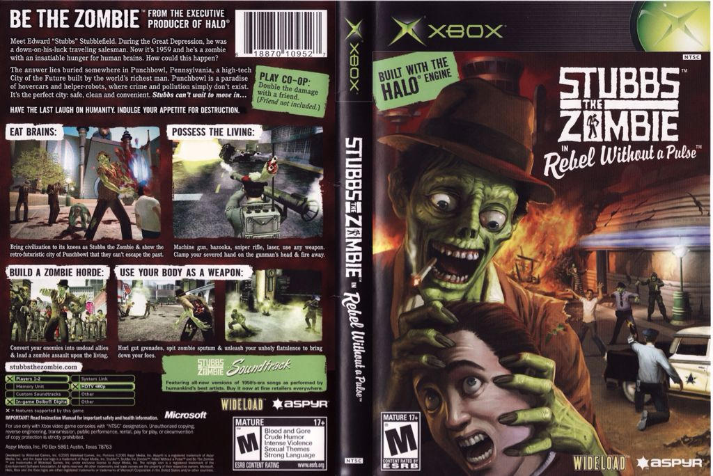 Stubbs the Zombie in Rebel without A Pulse Video Game - Xbox back image (back cover, second image)