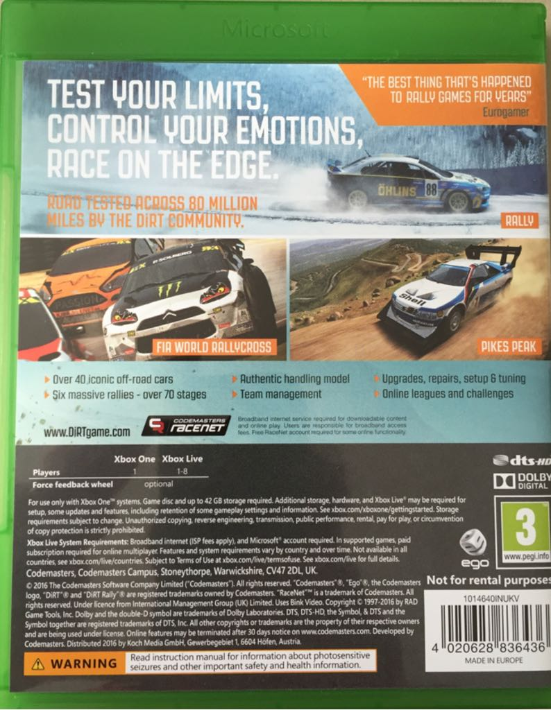 dirt rally video game xbox one from sort it apps. Black Bedroom Furniture Sets. Home Design Ideas